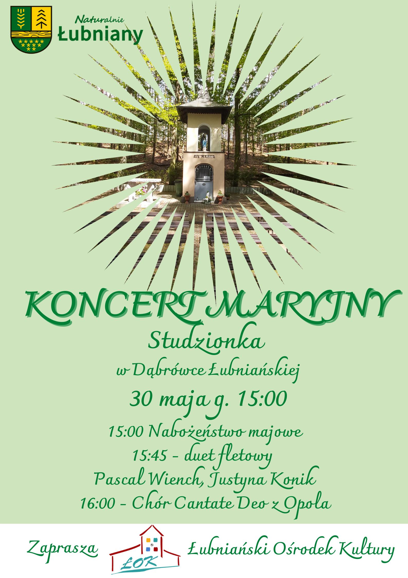 Plakat-zaproszenie na koncert maryjny na Studzionce