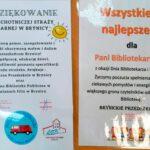 Podziękowania dla strażaków i przedszkolaków za odwiedziny biblioteki w Brynicy