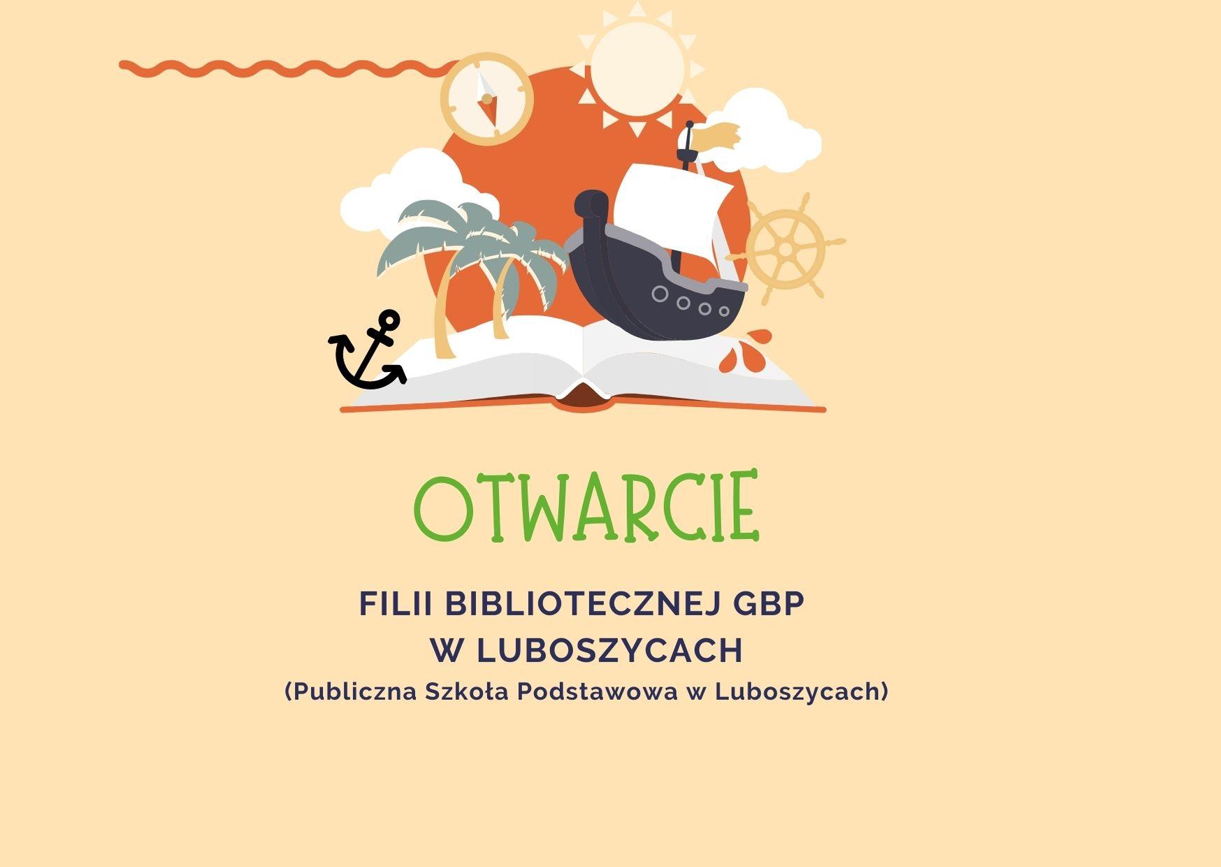plakat z informacją o otwarciu biblioteki w Luboszycach