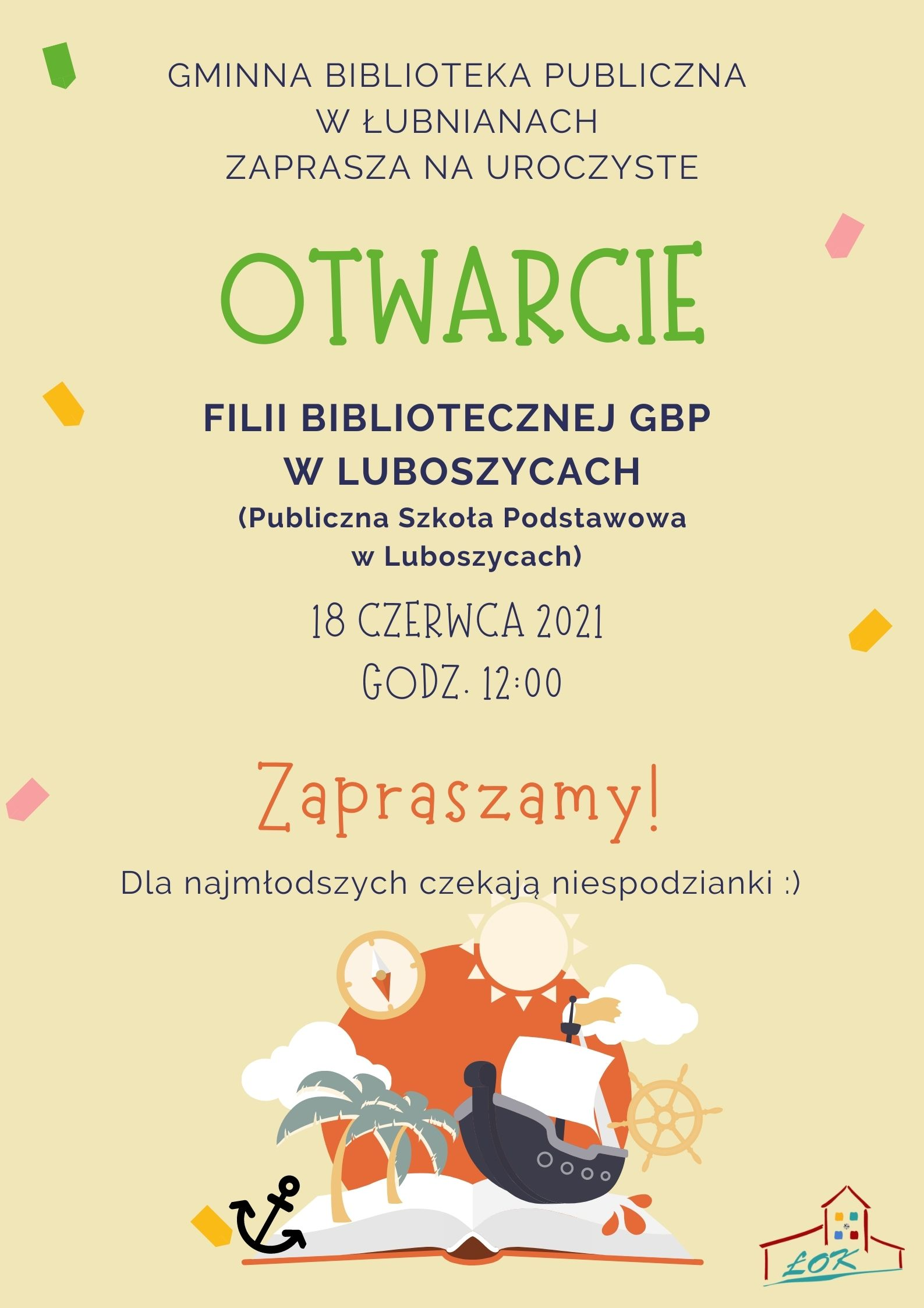 plakat na otwarcie biblioteki